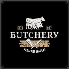 Butcher Shop Logo, Meat Label Template, Farm Animals Silhouettes