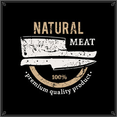 Retro Styled Butcher Shop Logo, Meat Label Template with Knives