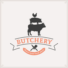 Butcher Shop Logo, Meat Label, Farm Animals Silhouettes
