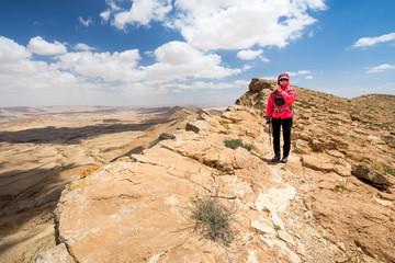 Wall Mural - Woman standing desert mountain edge.