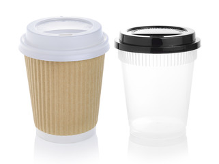 Paper cup of hot coffee Isolated