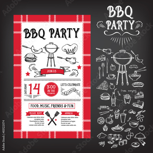Barbecue party invitation bbq template menu design food flyer - Organiser barbecue party ...