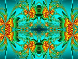 Flower pattern in fractal design. Orange and green palette. Comp