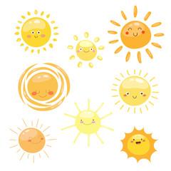 Orange Sun symbols set.