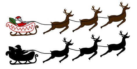 Santa Claus is flying in a sleigh, Christmas background