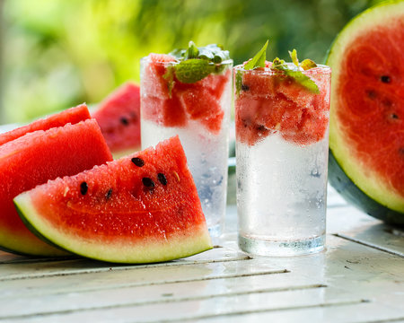 Detox water with watermelon and mint