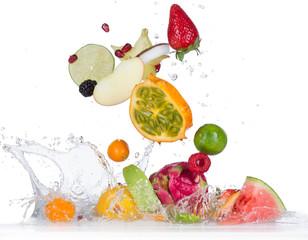 Fotobehang Vruchten Fruit with water splash
