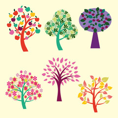 beautiful trees collection -illustration