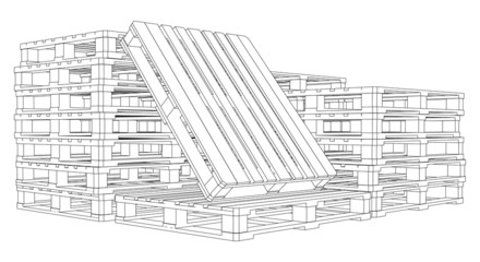 Set of pallets sketch