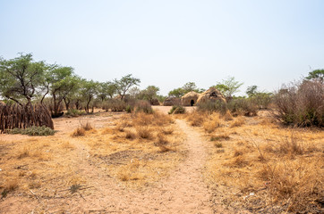 Bushmen village, Central Kalahari Game Reserve of Botswana.