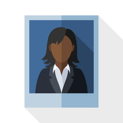 Picture of a black woman in a business suit with long shadow on
