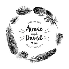 Hand drawn feathers wreath with type design
