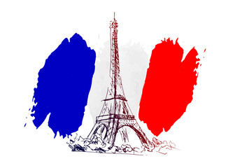 Vector background with France motive