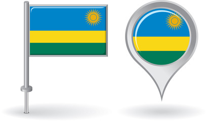 Rwanda pin icon and map pointer flag. Vector