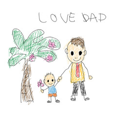 Children's drawings concept love dad for father's day