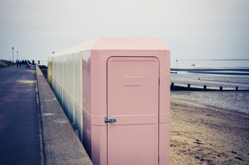 Changing cubicles on the beach