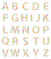 Colorful Flowers alphabet