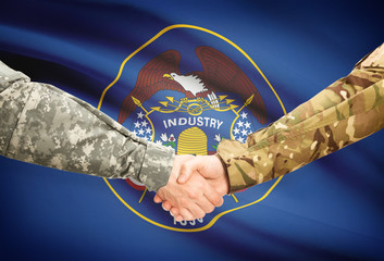 Military handshake and US state flag - Utah