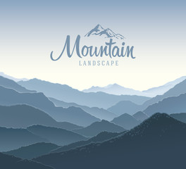 Mountain panoramic landscape. And the elements of the logo.