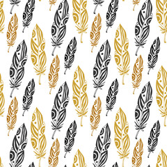 Cute seamless pattern with feathers on white background. Vintage