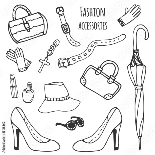 fa338f76c85 Sketch collection of women accessories. Fashion set. Hand drawn ...