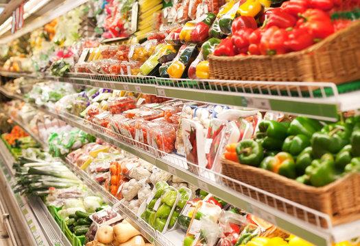 Shelf in the supermarket
