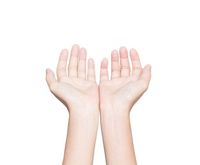 closeup hand receive white isolated clipping path inside