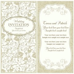 Baroque wedding invitation, beige