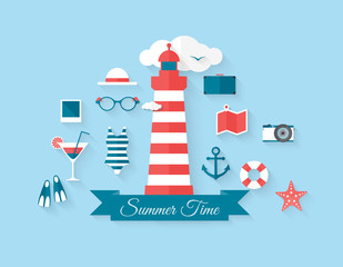 Summer background, flat style vector elements with long shadow.