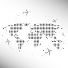 dotted world map with aircrafts