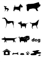 Slhouettes of dogs ./Set of  silhouettes of dogs.