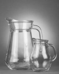 Glass, empty jugs
