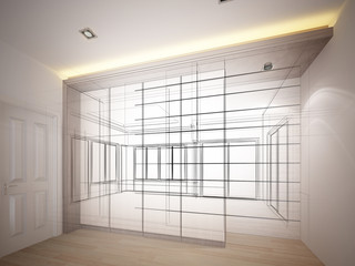 abstract sketch design of interior