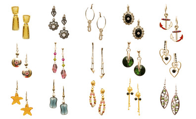 Wall Mural - Set of various earrings isolated on white