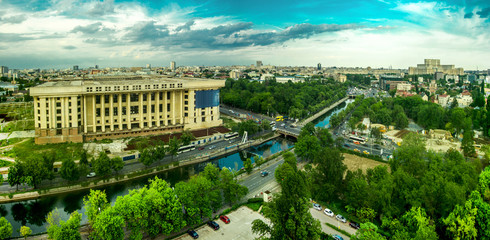 BUCHAREST, RO, MAY 2015 -- Radio House Ruin Aerial View