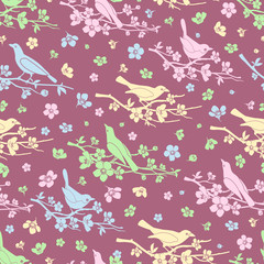 Wall Mural - Flowers and birds seamless background