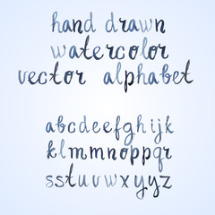 Colorful watercolor aquarelle font type handwritten hand drawn