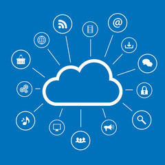 Cloud computing and social media icons