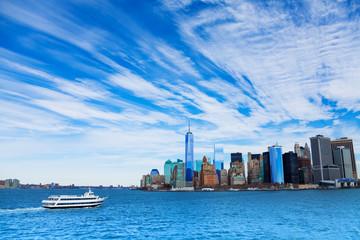 Ship and New York panorama
