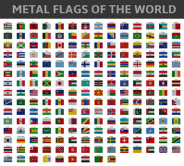 metal flags of the world