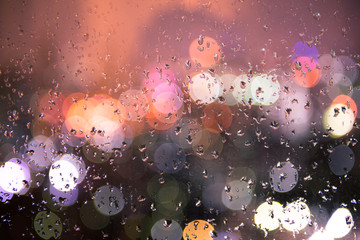bokeh light with rain, Background cityscape, view form windows, Drop of water and bokeh,  Fotomurales