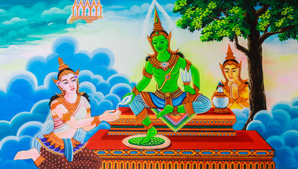 art painting on the public temple wall in thailand