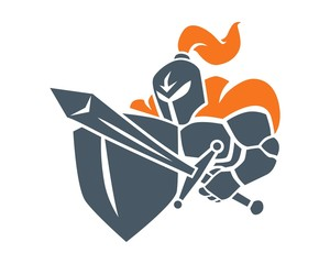 knight sword shield logo image vector
