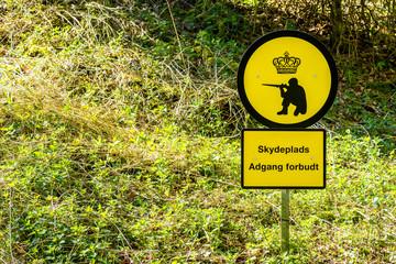 Shooting range sign in Denmark