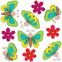 Flying butterflies with flowers on white background