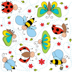 Bees, ladybugs and butterflies seamless pattern
