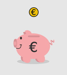 piggy bank pink euro with piece on grey background