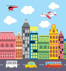 flat style illustration of modern city