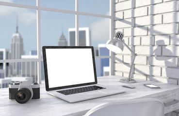 3D illustration laptopand work stuff on table near brick wall