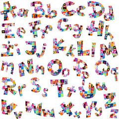 Letters of alphabet made of letters pattern